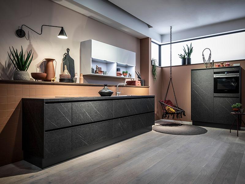 Küche kaufen Trend Marmor dunkel Wollenberg